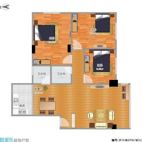 聚贤苑3室1厅2卫1厨113.00㎡户型图