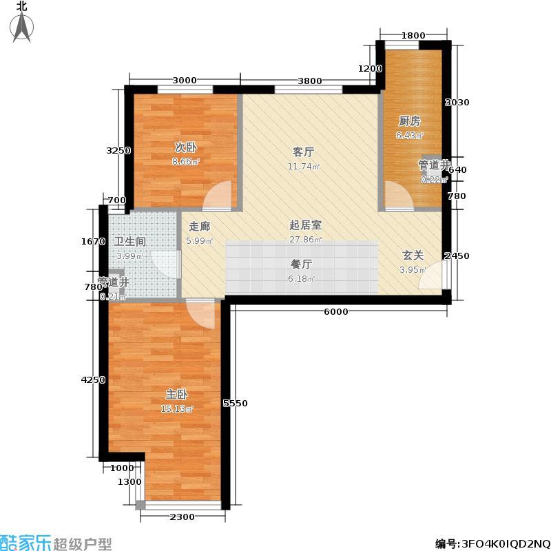 远洋沁山水89.00㎡7#楼B12面积8900m户型