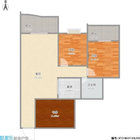 渝安金港尚城3室1厅1卫1厨110.00㎡户型图