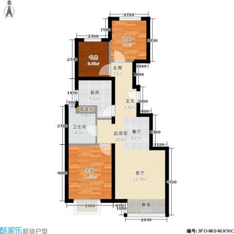 远洋沁山水3室0厅1卫1厨89.00㎡户型图
