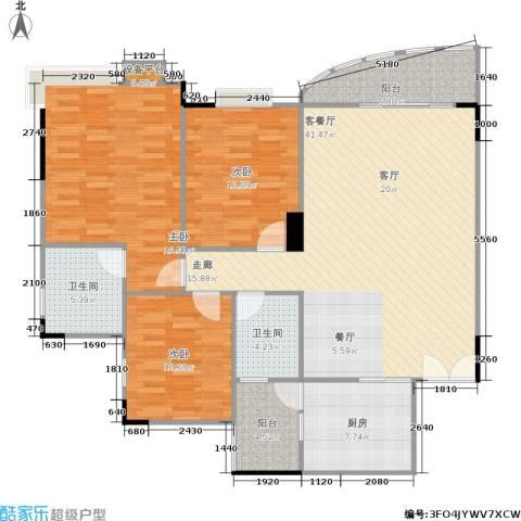 望谷・温泉小镇3室1厅2卫1厨122.00㎡户型图