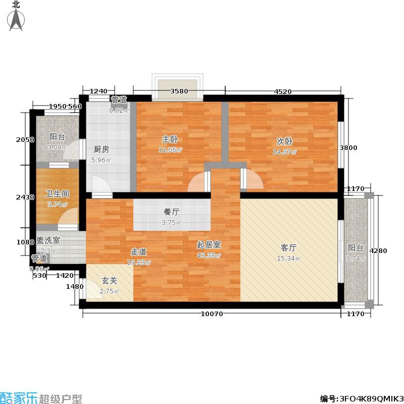 阿曼寓所98.00㎡3-d户型两室两厅户型