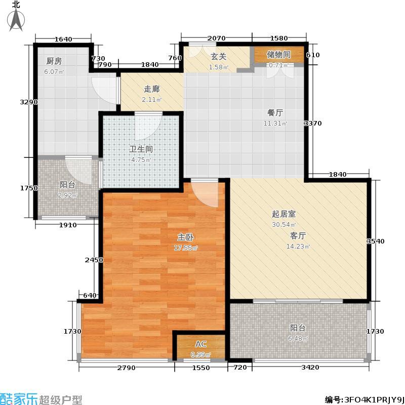 汇智湖畔家园74.00㎡B2户型1室2厅