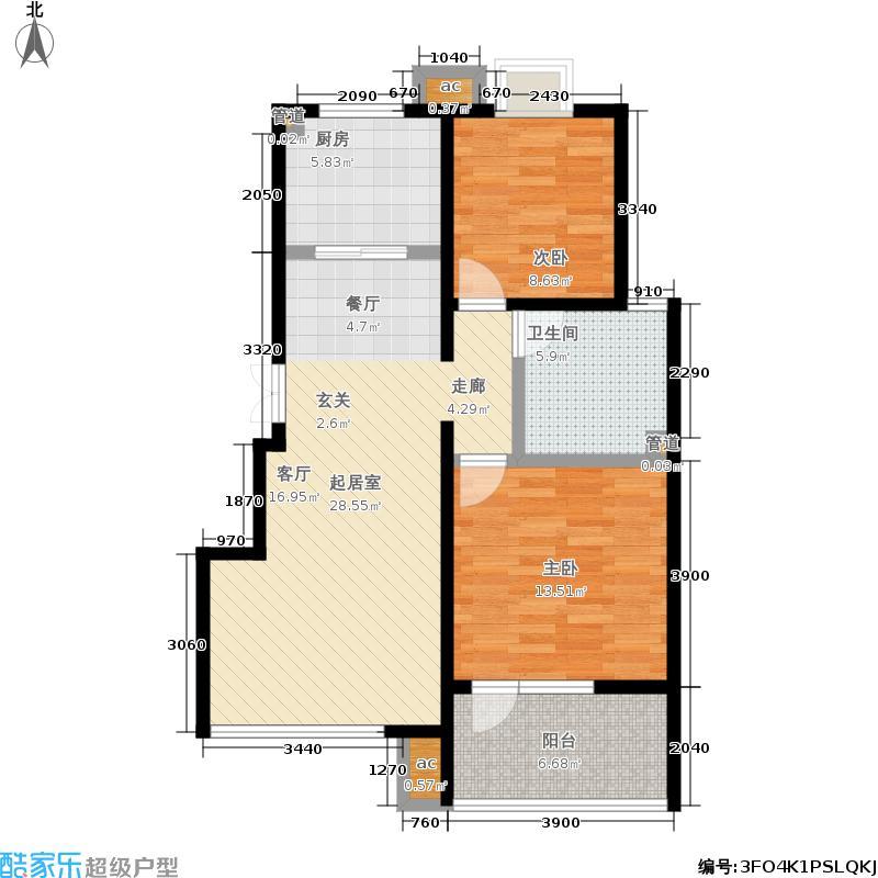 首开·常青藤82.00㎡二期珑藤中间单元5层B-3两室户型2室2厅