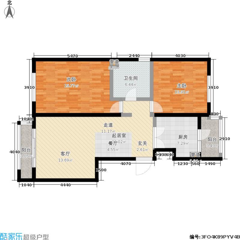 阿曼寓所99.00㎡4-j户型两室两厅户型