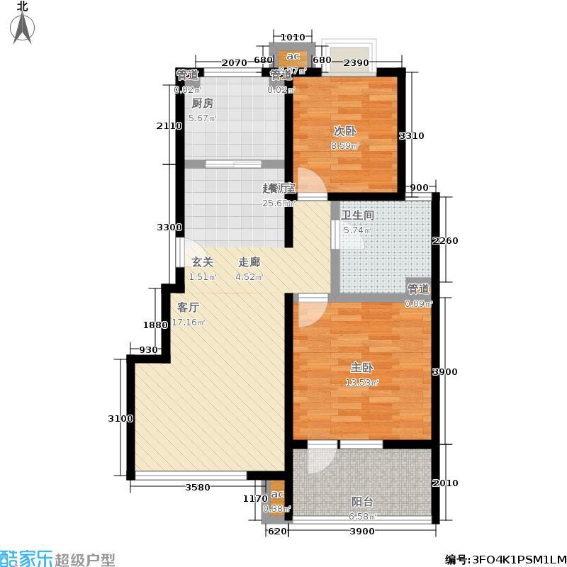 首开·常青藤85.00㎡首开常青藤2-1户型2室2厅