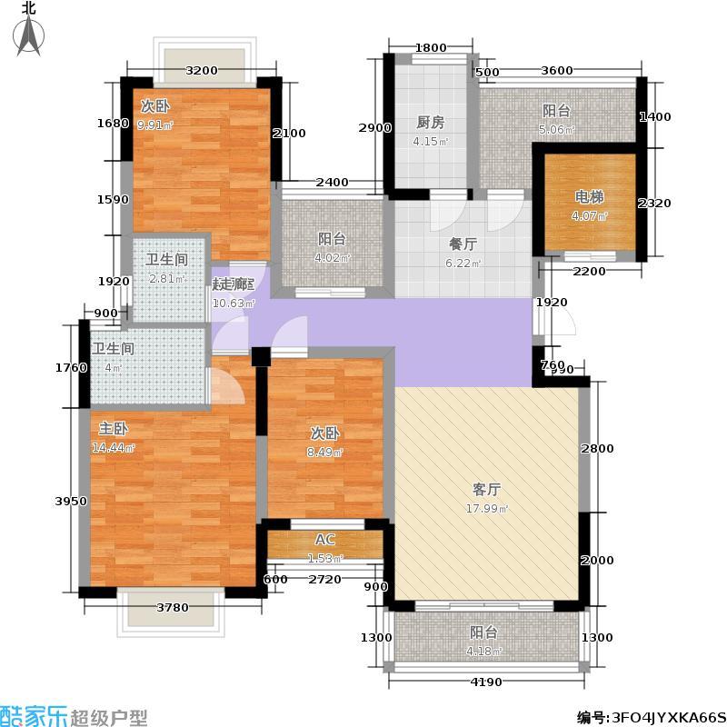 太平洋国际123.07㎡3栋B座03单元4室户型