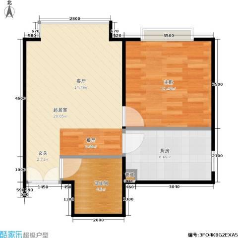 A派公寓1室0厅1卫1厨54.00㎡户型图
