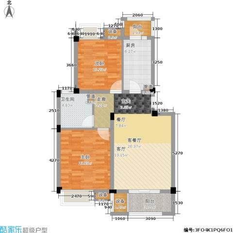 港城滴水湖馨苑2室1厅1卫1厨80.00㎡户型图