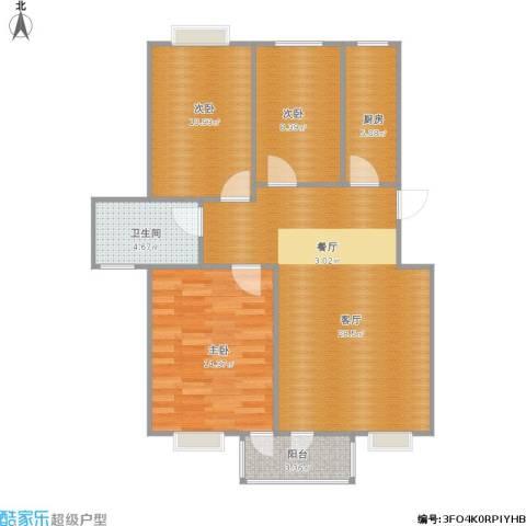 云锦美地3室1厅1卫1厨101.00㎡户型图