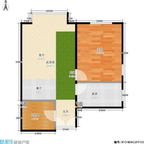 A派公寓1室0厅1卫1厨60.00㎡户型图