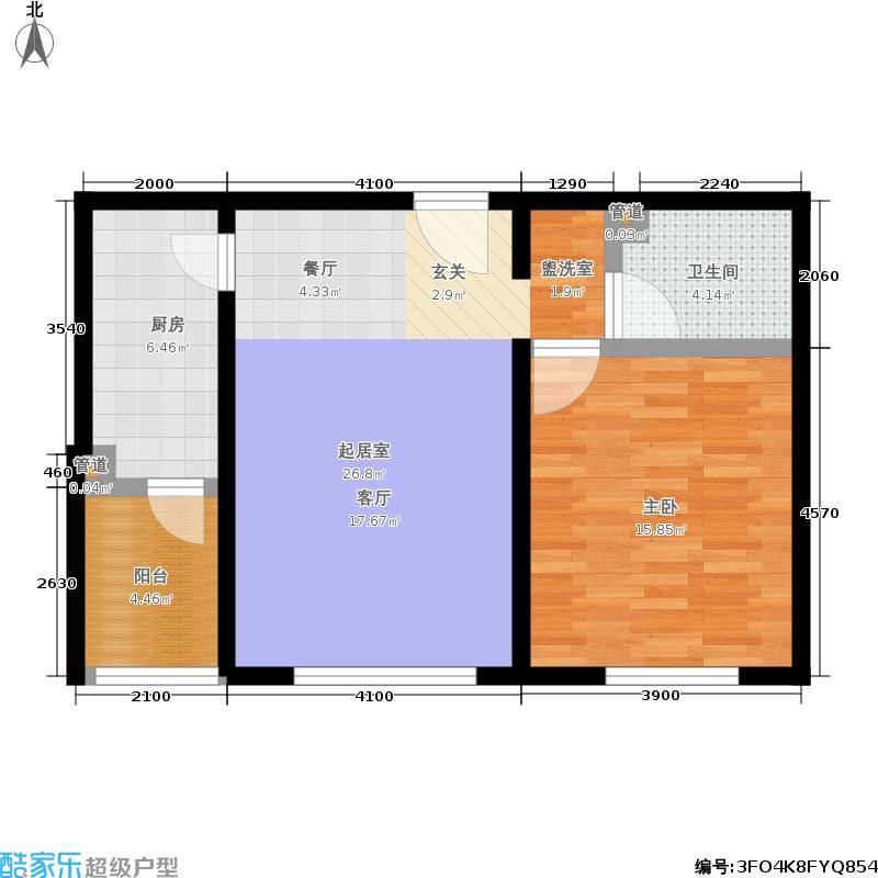 阿曼寓所67.00㎡2号楼F户型一室一厅户型
