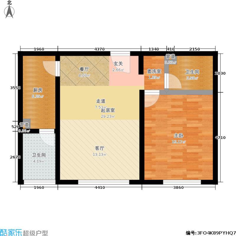 阿曼寓所69.00㎡4-f户型一室一厅户型