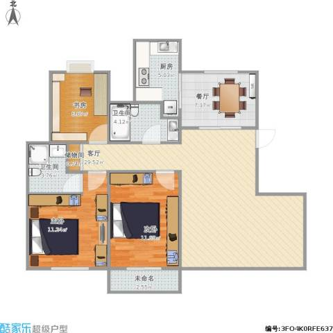 世纪名门3室2厅2卫1厨112.00㎡户型图