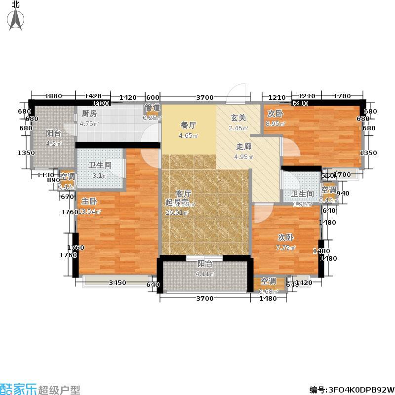 海伦国际104.00㎡一期2号楼标准层1-2-01户型
