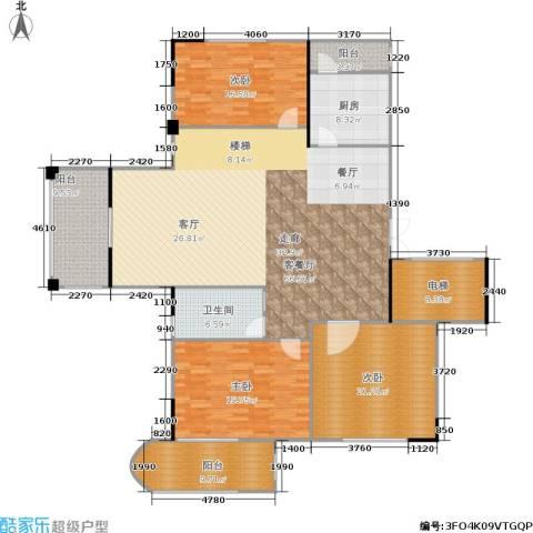 奥林匹克花园3室1厅1卫1厨180.00㎡户型图