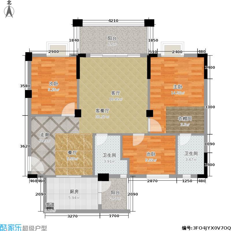 大丰豪庭93.77㎡二期2楼B栋标准层02户型