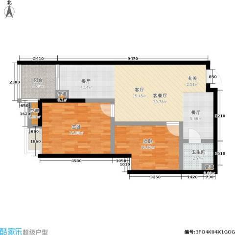 欧园北欧印象2室1厅1卫0厨74.00㎡户型图