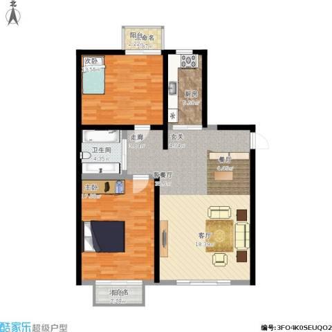 百子湾家园2室1厅1卫1厨114.00㎡户型图