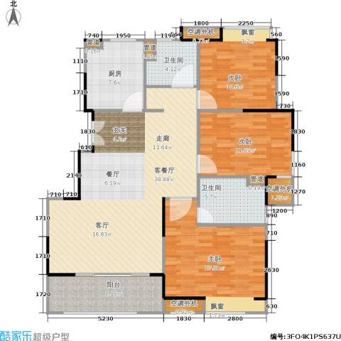 松江颐景园3室1厅2卫1厨118.00㎡户型图