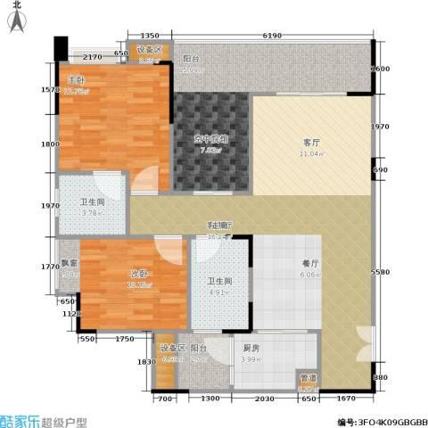 海语江山 海尔・海语江山2室1厅2卫1厨120.00㎡户型图