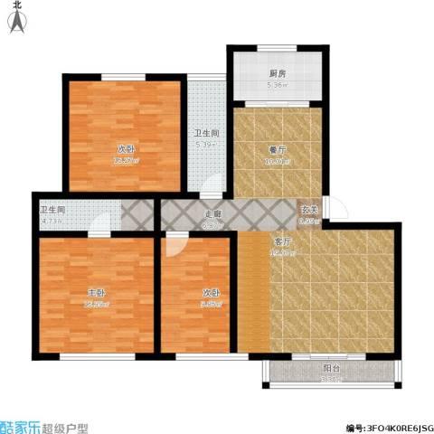 城市绿洲花园二期3室1厅2卫1厨144.00㎡户型图