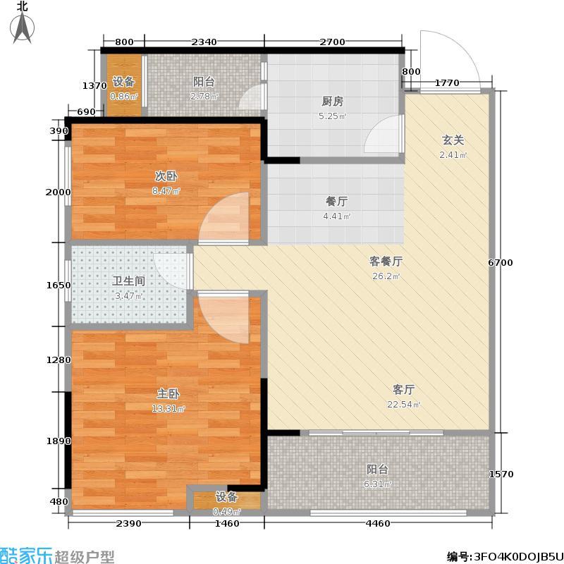 中铁东湖怡景72.97㎡一期7#楼标准层B2户型
