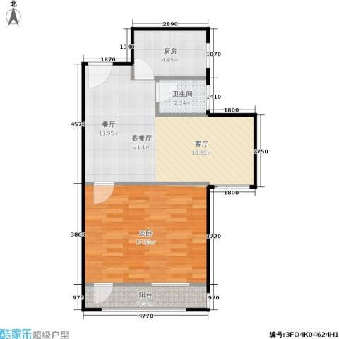 牡丹园东里1室1厅1卫1厨53.57㎡户型图