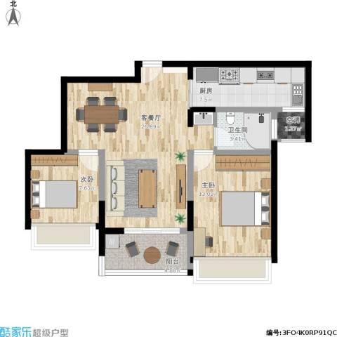 雅戈尔太阳城缘邑2室1厅1卫1厨107.00㎡户型图