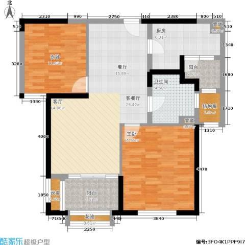 华润新江湾九里2室1厅1卫1厨86.00㎡户型图