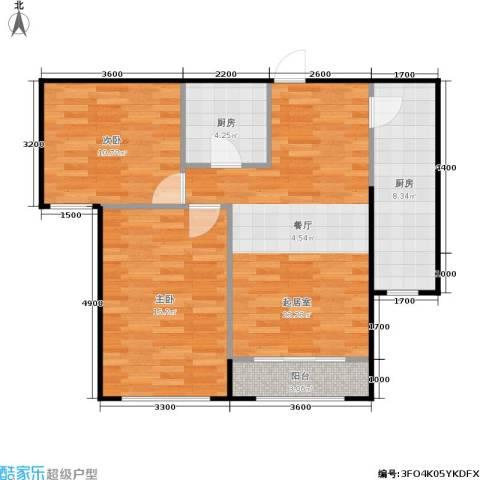 通州万达广场2室0厅0卫2厨92.00㎡户型图