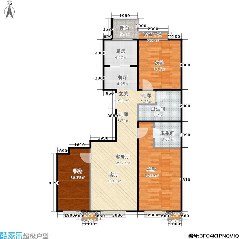 京投银泰·公园悦府114.00㎡C1户型3室2厅