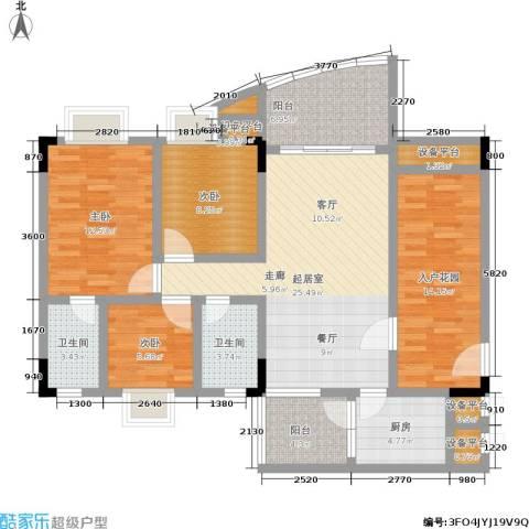 万虹花园3室0厅2卫1厨138.00㎡户型图