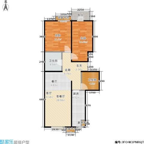 京投银泰·公园悦府2室1厅2卫1厨92.00㎡户型图