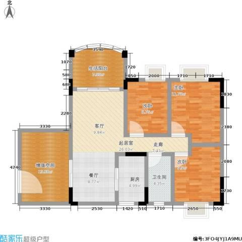 万虹花园3室0厅1卫1厨102.00㎡户型图