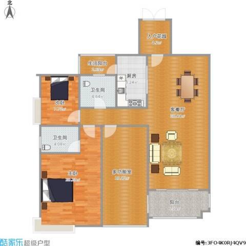 荣盛・海湾郦都2室1厅2卫1厨152.00㎡户型图