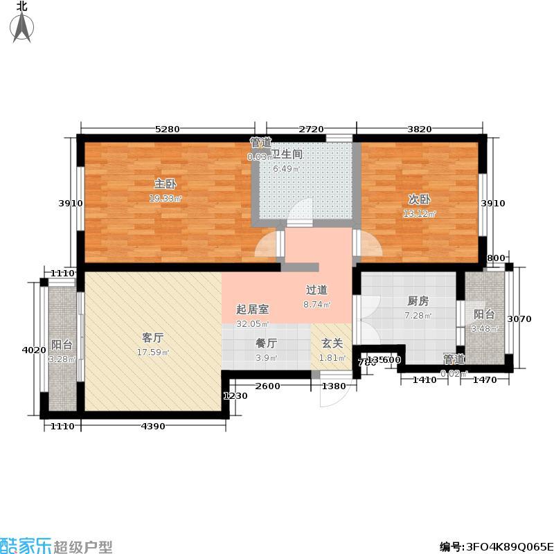 阿曼寓所98.00㎡3-j户型两室两厅户型