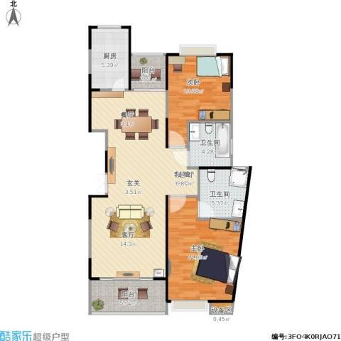 南方城二期2室1厅2卫1厨112.00㎡户型图