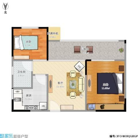 攀华国际广场2室1厅1卫1厨62.00㎡户型图