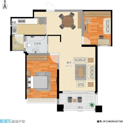 保利天鹅语2室1厅1卫1厨93.00㎡户型图