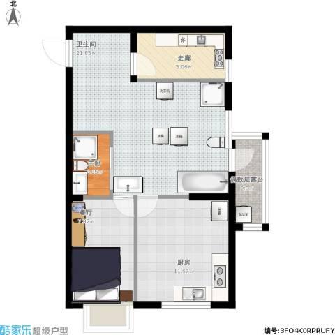 华府丹郡1室1厅1卫1厨74.00㎡户型图