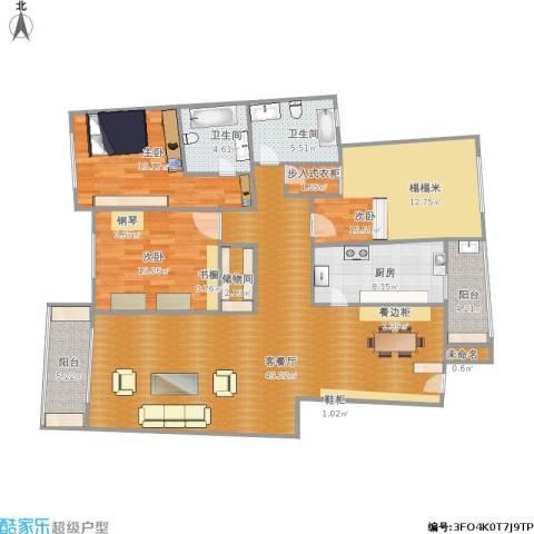 梅陇世纪苑3室1厅2卫1厨166.00㎡户型图