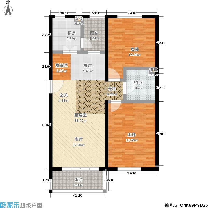 阿曼寓所106.00㎡4-e1户型两室两厅户型