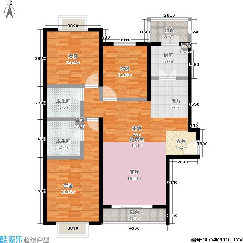 阿曼寓所127.00㎡1楼A-2户型三室两厅两卫户型