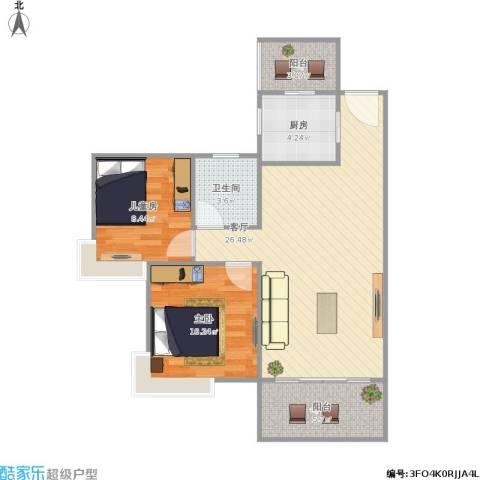 翡翠山湖三期臻萃园2室1厅1卫1厨84.00㎡户型图