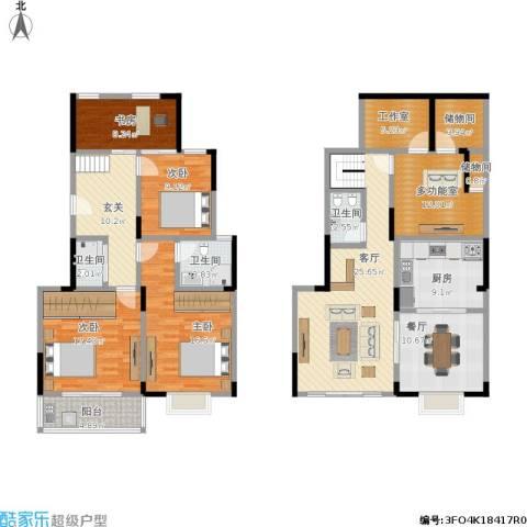 浦江颐城4室2厅3卫1厨199.00㎡户型图