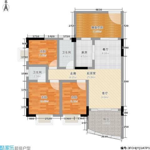 万虹花园3室0厅2卫1厨100.00㎡户型图