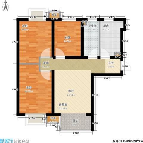 夏威夷・蓝湾3室0厅1卫1厨88.00㎡户型图