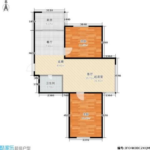 龙腾金荷苑2室0厅1卫1厨70.00㎡户型图
