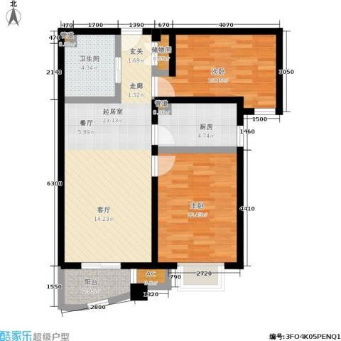 北京城建·世华泊郡2室0厅1卫1厨85.00㎡户型图